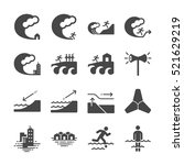 tsunami and flood icons | Shutterstock .eps vector #521629219