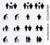 elder and family icons set. old ...