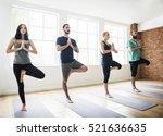 yoga practice exercise class... | Shutterstock . vector #521636635