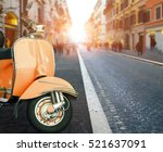 italian scooter parking at  old ... | Shutterstock . vector #521637091