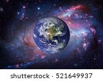 earth and galaxy on background. ...