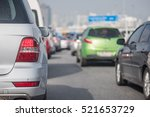 traffic jam with row of car on... | Shutterstock . vector #521653729