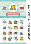 icon set logistic vector | Shutterstock .eps vector #521653795