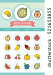 icon set fruit vector | Shutterstock .eps vector #521653855