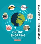 online shopping concept. set... | Shutterstock .eps vector #521659945