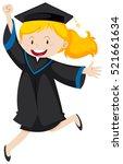 girl in black graduation gown...   Shutterstock .eps vector #521661634