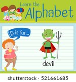 flashcard letter d is for devil ... | Shutterstock .eps vector #521661685