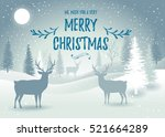 holiday winter landscape with... | Shutterstock .eps vector #521664289