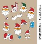santa vector set. cartoon... | Shutterstock .eps vector #521666011