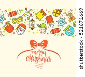 christmas background with flat... | Shutterstock .eps vector #521671669