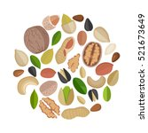 various nuts composed in circle ... | Shutterstock .eps vector #521673649