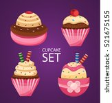 cupcake set  cupcake icons ... | Shutterstock .eps vector #521675155