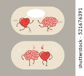 the brain and the heart of love ... | Shutterstock .eps vector #521676391
