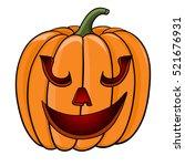 halloween pumpkin. funny face.... | Shutterstock . vector #521676931