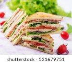 club sandwich with chicken... | Shutterstock . vector #521679751