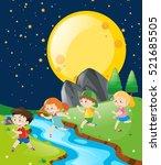 children running in the park at ... | Shutterstock .eps vector #521685505