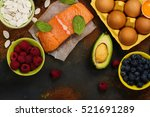 healthy food for brain and good ... | Shutterstock . vector #521691289