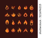 set of color flame icons on... | Shutterstock .eps vector #521696215