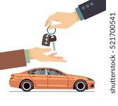 car seller hand giving key to... | Shutterstock .eps vector #521700541