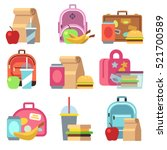 school lunch food boxes and... | Shutterstock .eps vector #521700589