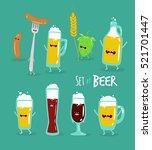 funny set of beer. vector... | Shutterstock .eps vector #521701447