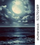 night sky with full moon and...   Shutterstock . vector #521701489