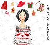 fashionable girl wearing... | Shutterstock . vector #521712325