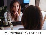 young beautiful woman smiling... | Shutterstock . vector #521731411