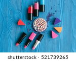 decorative cosmetics on wooden... | Shutterstock . vector #521739265