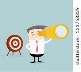 businessman holding a spyglass... | Shutterstock .eps vector #521753329