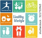 healthy life style in flat... | Shutterstock .eps vector #521753965