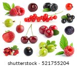 fruits. collection of berries... | Shutterstock . vector #521755204