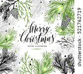 merry christmas greeting card... | Shutterstock .eps vector #521762719