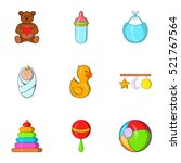 things for baby icons set.... | Shutterstock . vector #521767564