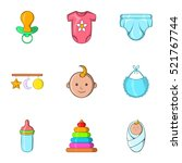 baby supplies icons set.... | Shutterstock . vector #521767744