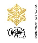 merry christmas gold glittering ... | Shutterstock .eps vector #521769055