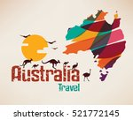 australia travel map ... | Shutterstock .eps vector #521772145