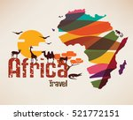 africa travel map  decorative... | Shutterstock .eps vector #521772151