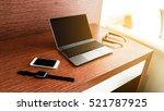 desktop mix of office supplies... | Shutterstock . vector #521787925