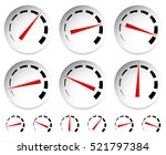 meters  dials with red pointer. ... | Shutterstock .eps vector #521797384