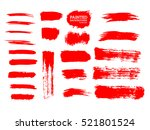 painted grunge stripes set. red ... | Shutterstock .eps vector #521801524