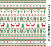 christmas seamless pattern.... | Shutterstock . vector #521811931