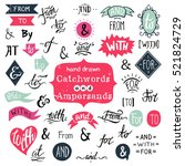 big collection of hand lettered ... | Shutterstock .eps vector #521824729