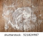 white flour on rustic wooden... | Shutterstock . vector #521824987
