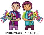 young boys with flowers   Shutterstock .eps vector #52183117