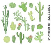cactus vector color set | Shutterstock .eps vector #521832031