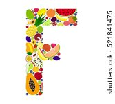vector letter f composed of... | Shutterstock .eps vector #521841475