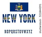 New York Usa State Flag Font....