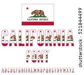 California Usa State Flag Font...