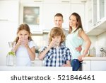 boy and girl drinking water... | Shutterstock . vector #521846461